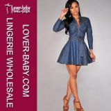 Lady Jean Denim Belted Skater Woman Club Dresses (L27912)