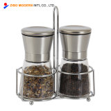 Wholesale Stainless Steel Salt and Pepper Grinder Set with Rack