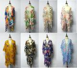 Summer Flower Pattern Print Multi-Wear Cardigan Flouncing Lace Women Beach Shawl