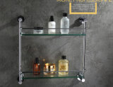 Wall Mounted Round Style Brass Bathroom Double Glass Shelf Chrome Finish 2412