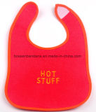 Factory Produce Customized Logo Embroidered Red Cotton Jersey Drooler Bibs