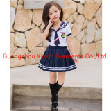 Japanese School Girl Uniform Suit White Short Sleeve T-Shirt Top Pleated Skirt Cosplay Korean Girls Student Costume Set (U180)