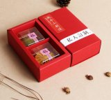 Customized and Wholesale Folded Mooncake Gift Box, 2 Pack of Mooncake Box, Red Kraft Paper Box