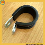 EPDM Plated Steel Marine Grade Stainless Steel Coated Fixing Rubber Lined Saddle Pipe Hose Clamp Cable Wire P Type Style Clip for Shock Absorption Antirust