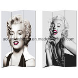 Hot Selling Marilyn Monroe Audrey Hepburn Women Portrait Print 3 Panel Canvas/Wooden Screen & Room Dividers