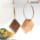 Ethnic Beautiful Homemade Fashion Jewellery with Brass Gold Earrings Charms in Diamond-Shaped