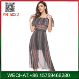 Latest Woman Transparent Fancy Summer Stripe Dress China