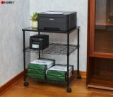 Products Deskside Wire Machine Stand Series / Adjustable Rolling 3 Tier Printer Storage Rack with Wheels