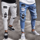 Mens Stretchy Ripped Skinny Jeans Destroyed Taped Slim Fit Denim Jeans