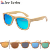 Stock 100% Wooden Wood Bamboo Sunglasses with Spring Hinge, MOQ 50PCS with Mixd Styles and Colors