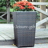 Fo-9402 Tall Quare Rattan Flower Pot for Garden