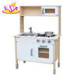 New Arrival Children Pretend Wooden Toy Kitchen in White and Natural W10c396