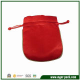 Pure Color Vivid Red Satin Drawstring Jewelry Bag