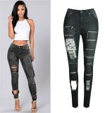 2017 Hot Sale Elastic Denim Jeans for Women with Holes