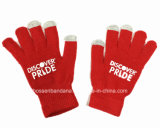 China Factory Produce Customized Logo Printed Red Acrylic Magic Touch Screen Gloves