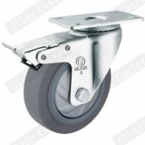 Medium Duty Single Bearing TPR Caster with Top Brake (G3317)