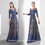 Lace Tulle Party Prom Gowns 3/4 Sleeves Purple Evening Dress Lb1875