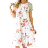 Casual Girl Floral Print A Line Loose T Shirt Dress