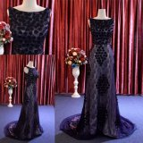Hot Sale Navy Blue Lace Evening Gown Long Dress