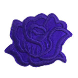 New Design Fashion Embroidery Patch 3D Blue Flower