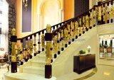 Luxury Brass and Jade Stone Indoor Balustrade Handrail Decorative Staircase Design