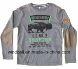 Plain Printed Cotton Jersey T Shirt for Boy with PU Patch