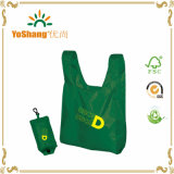 Green Material Carrying Bag with White Logo Print Eco Bag Nylon Fold Bag with Button