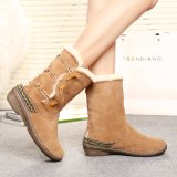 Fashion Ladies 3 Cm Wedge Winter Boots with Three Horn Buttons