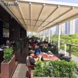Motorized Aluminum Deck Patio Waterproof PVC Retractable Pergola Awning with LED Light