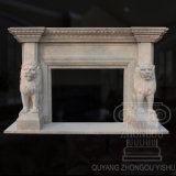 Hot 2018 Great Quality White Travertine Lion Animal Marble Fireplace Sculpture