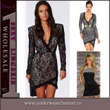 European Design Ladies Fashion Mini Long Sleeves Lace Dress (TBLSN176)