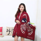 Lady Fashion Acrylic Woven Fringed Jacquard Winter Shawl (YKY4447)