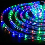 "Christmas Rope 150 Feet 1/2"" Thick Multi-Color RGB Pre-Assembled LED Rope Lights with 10′, 25′, 50′, 100′ Option - Christmas Holiday Decoration Esg10433"