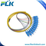 Bundle Mutil-Cores Fiber Optic Fan-out Pigtails Singlemode Multimode Sc/LC/FC/St/MTRJ/E2000 Upc/APC 12fibers Bunchy