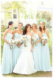 Sky Blue Party Prom Gowns Strapless Long Chiffon Bridesmaid Dress Yao180