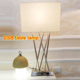 Contemporary Nickel Bedroom USB Desk Table Lamp Light Lighting for Home in Begie Fabric Shade, H700mm