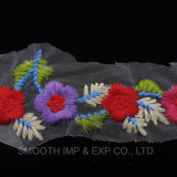 Fashion Colored Flower Mesh Embroidery Lace for Ladies Clothes Fabric