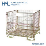 Folding Rigid Transport Pallet Steel Metal Collapsible Wire Mesh Crate