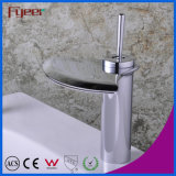 Fyeer Waterfall Crative Fan-Shaped Wide Spray Single Handle Bathroom Basin Faucet Water Mixer Tap