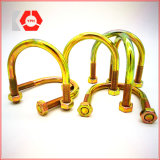 Yellow Zinc Plated Hot-Rolled Steel U Bolt with Washer and Nut