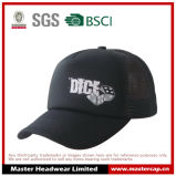5-Panel Black Polyester Trucker Cap Mesh Cap for Adult