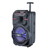 8 Inch Portable Mini Trolley PA Loud Speaker with Multimedia Karaoke Party Woofer and Wireless Microphone