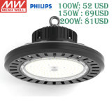 TUV Ce UL Meanwell Driver High Bay Lighting 100W/150W/200W/300W Warehouse Industrial UFO LED High Bay Light with 5 Year Warranty
