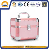 Makeup Train Case Pink with Trays Single Open (HB-3214)