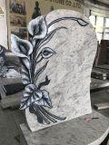 Haobo Stone New Design Granite Tombstone with Handcarved Calla