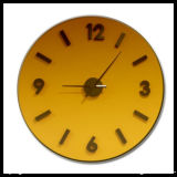Yellow Colored Glass Wall Clock