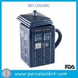 Innovative Telephone Booth Ceramic Blue Tea Cup with Lid