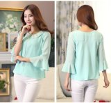 Green 3/4 Sleeve Women′s Chiffon Lady Blouse with Good Price