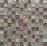 Light Emperador Stone Mix Cracked Glass Mosaic (CC151)