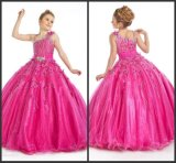 New Design Girls Pageant Prom Ball Gown Asymmetrical Sweep Train Applique Beaded Crystal Ruffle Organza Pageant Dresses for Girls N83
